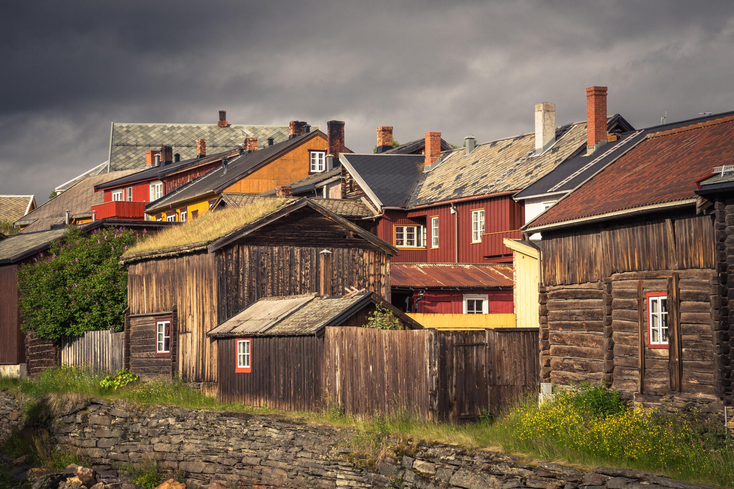 Stadsgezicht houten dorp Røros